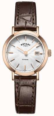 Rotary レディースブラウンレザーストラップシルバーダイヤル LS05304/02