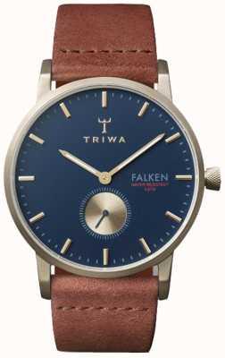 Triwa ファルケンネイビーダイヤルのユニセックスブラウンレザー FAST104-CL010217