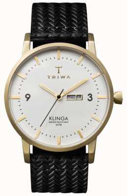 Triwa レザーストラップ付きユニセックスホワイトダイヤルクリンガ KLST103-GC010113