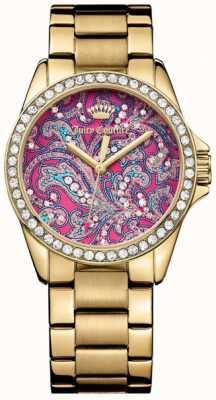 Juicy Couture レディースゴールドメタルストラップピンクのパターンダイヤル 1901424