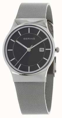Bering メンズブラックダイヤルシルバーストラップ 11938-002