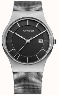 Bering メンズブラックダイヤルシルバーストラップデイトウィンドウ 11938-002