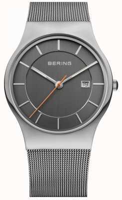 Bering メンズグレーストラップグレーダイヤル 11938-007