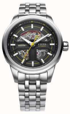 FIYTA メンズステンレスストラップブラックダイヤル GA866003.WBW