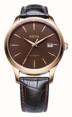 FIYTA メンズブラウンレザーストラップローズゴールドケース WGA1010.PSR