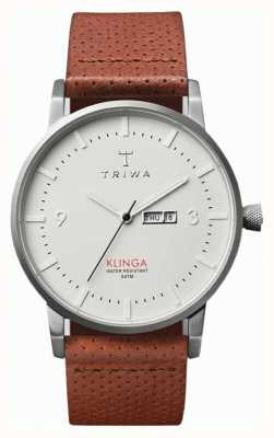 Triwa 男女兼用のクリンガのレザーストラップ、ホワイトダイヤル KLST101-CD010212