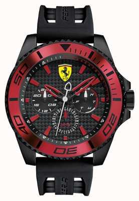 Scuderia Ferrari メンズブラックラバーストラップブラックダイヤルレッドディテール 0830310