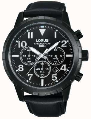 Lorus メンズブラッククロノグラフブラックレザーストラップ RT365FX9