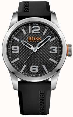 Hugo Boss Orange メンズパリスブラックラバーストラップブラックダイヤル 1513350