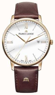 Maurice Lacroix メンズホワイトラウンドダイヤルブラウンレザーストラップ EL1118-PVP01-112-1