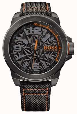 Hugo Boss Orange メンズブラックメッキストラップグレーパターンダイヤル 1513343