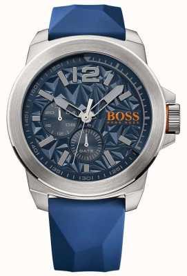 Hugo Boss Orange メンズブルーラバーストラップブルーダイヤル 1513348