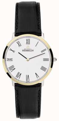 Michel Herbelin メンズイコンブラックレザーストラップホワイトダイヤル 17415/T01