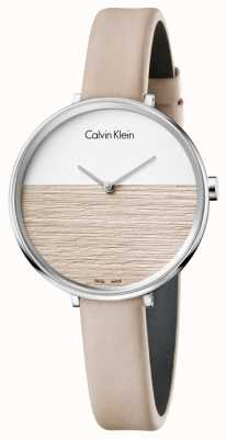 Calvin Klein レディースベージュレザーストラップベージュダイヤル K7A231XH