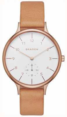 Skagen レディースanita brown leather strapホワイトダイヤル SKW2405