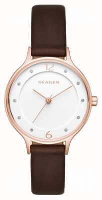 Skagen レディースanita brown leather strapホワイトダイヤル SKW2472
