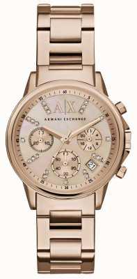 Armani Exchange レディースバラゴールドクロノグラフダイヤルバラゴールドメタルストラップ AX4326