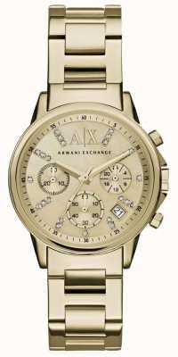 Armani Exchange レディースゴールドクロノグラフダイヤルゴールドメタルストラップ AX4327