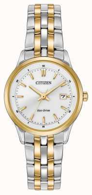 Citizen レディース2トーンステンレススチールブレスレットホワイトダイヤル EW2404-57A