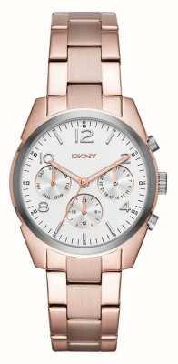 DKNY レディースローズゴールドメッキストラップホワイトクロノグラフダイヤル NY2472