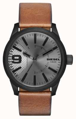 Diesel メンズブラウンレザーストラップシルバーダイアルブラックケース DZ1764