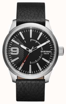 Diesel メンズブラックレザーストラップブラックダイヤルシルバーケース DZ1766