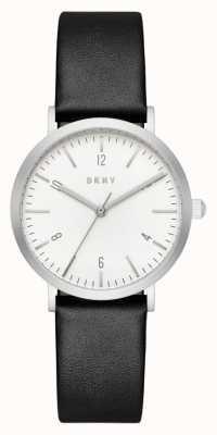 DKNY レディースブラックレザーストラップラウンドホワイトダイヤル NY2506