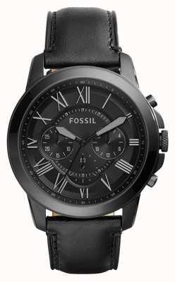 Fossil メンズブラックレザーストラップブラッククロノグラフダイヤル FS5132