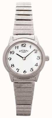 Rotary レディースステンレススチールホワイトダイヤル LBI0761