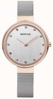 Bering レディースステンレスメッシュストラップシルバーダイヤル 12034-064