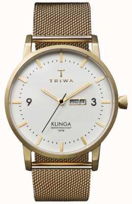 Triwa ユニセックスアイボリークリンガ金メッシュメタルストラップ KLST103-ME021313