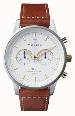 Triwa メンズスノーネヴィルブラウンレザーストラップホワイトダイヤル NEST115-SC010215