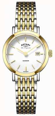 Rotary 女子ウィンザーツートーンシルバーゴールドメタルストラップ LB90154/01