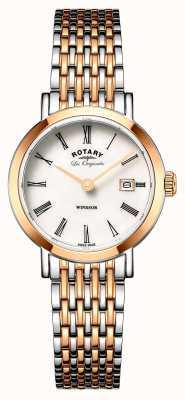 Rotary 女子ウィンザーツートーンシルバーローズゴールドメタルストラップ LB90155/01