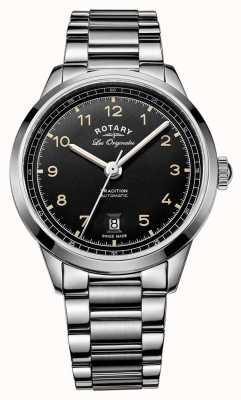 Rotary メンズ伝統自動ステンレススチールブレスレットブラックダイヤル GB90184/19