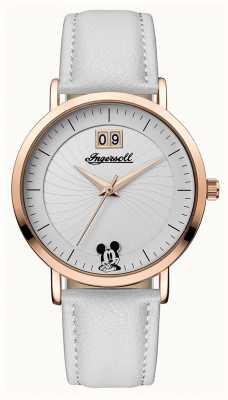 Disney By Ingersoll レディースユニオンディズニーホワイトレザーストラップシルバーダイヤル ID00502