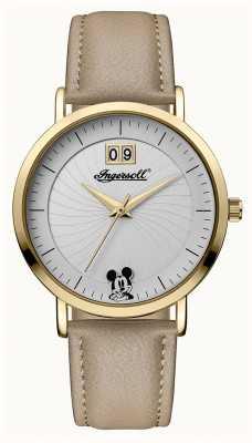 Disney By Ingersoll レディースユニオンディズニーベージュレザーストラップシルバーダイヤル ID00503