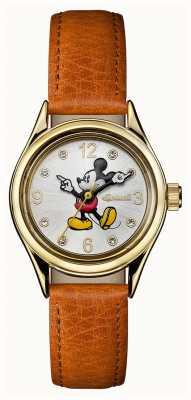 Disney By Ingersoll レディースユニオンディズニーブラウンレザーストラップシルバーダイヤル ID00901