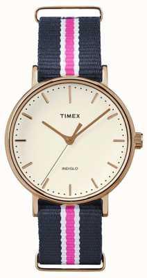 Timex レディースウィークエンドフェアファックスネイビーピンクストラップ TW2P91500
