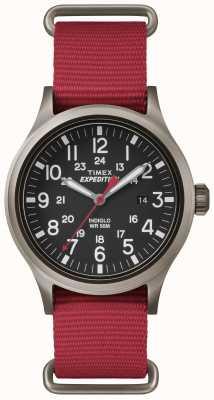 Timex メンズスカウトブラックダイヤルレッドファブリックストラップ TW4B04500
