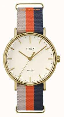 Timex ユニセックスウィークエンドフェアファックスオレンジブラウンストラップ TW2P91600