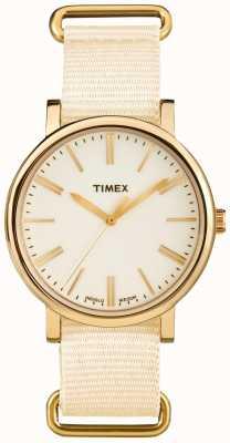 Timex ユニセックスクリームダイヤルクリームファブリックストラップ TW2P88800