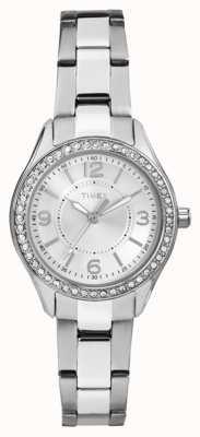 Timex 女性のマイアミミニシルバーステンレススティールストラップシルバーダイヤル TW2P79800