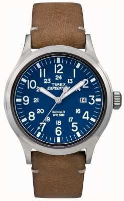 Timex メンズスカウトブルーダイヤルブラウンレザーストラップ TW4B01800