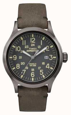 Timex メンズスカウトブラックダイヤルグレーレザーストラップ TW4B01700
