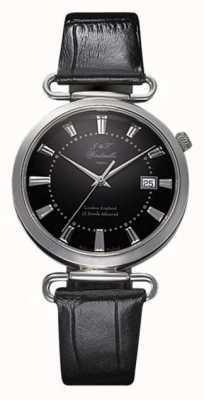 J&T Windmills メンズthrogmorton機械式時計ブラックダイヤルスターリングシルバー WGS10005/04
