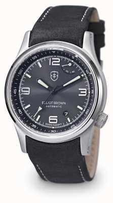 Elliot Brown メンズtynehamブラックレザーストラップブラックダイヤル 305-005-L15