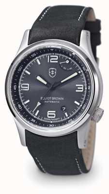 Elliot Brown メンズtynehamグレーレザーブラックダイヤル表示のケースバック 305-D05-L15