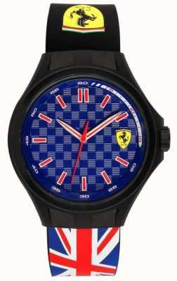 Scuderia Ferrari メンズピットクルーユニオンフラッグラバーストラップブルーダイヤル 0830351