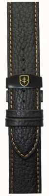Elliot Brown メンズ22mmブラックレザーデプロイントタンステッチストラップ STR-L11